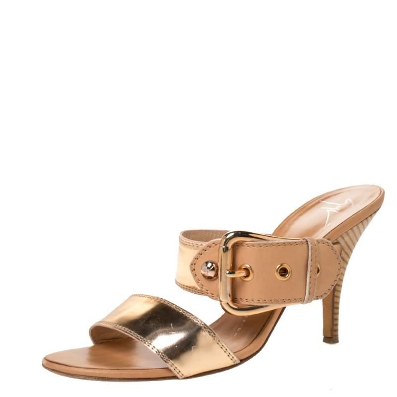 Giuseppe Zanotti Metallic Gold Leather Buckle Slides Size 38