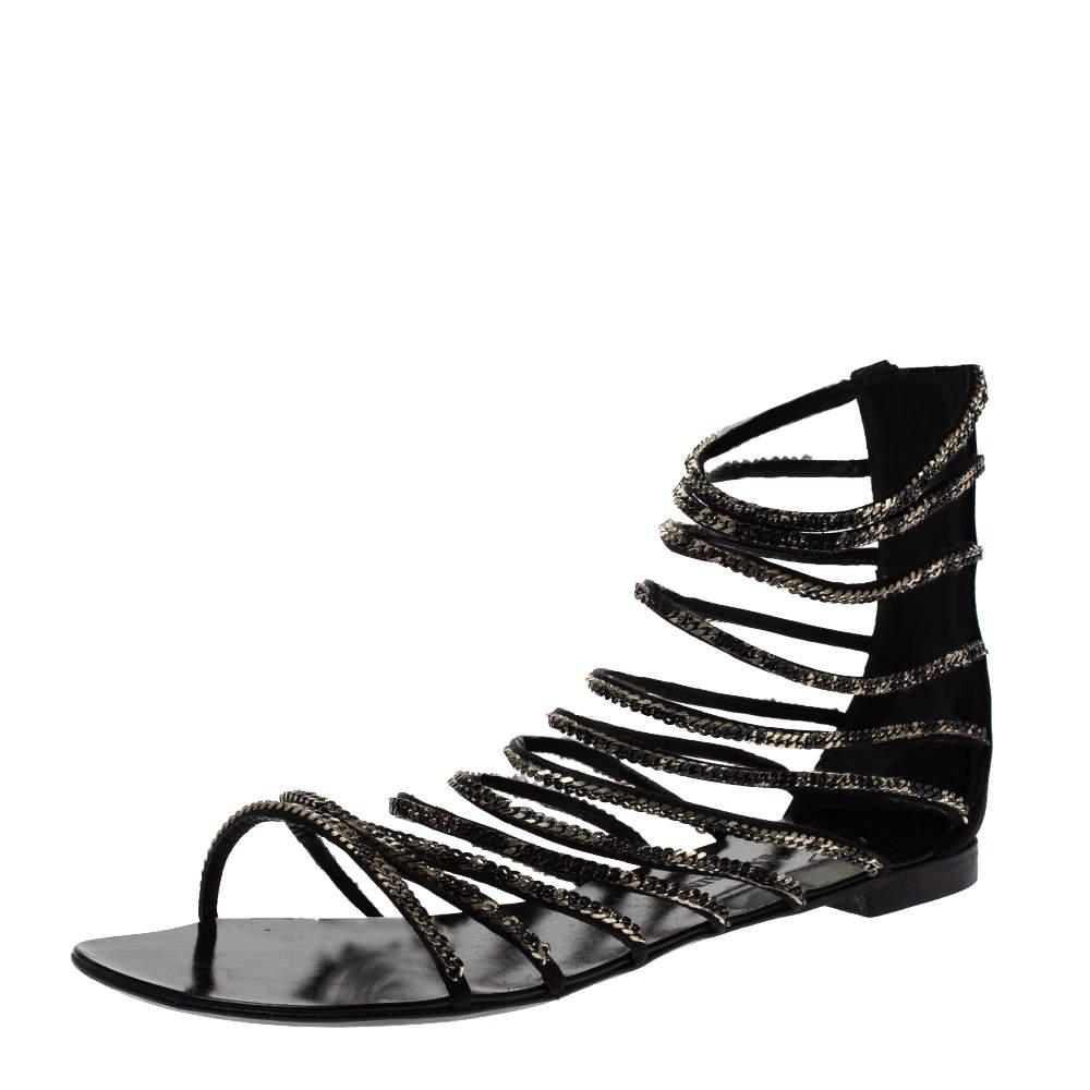Giuseppe Zanotti For Balmain Black Satin Chain Embellished Strappy Flats Size 37.5