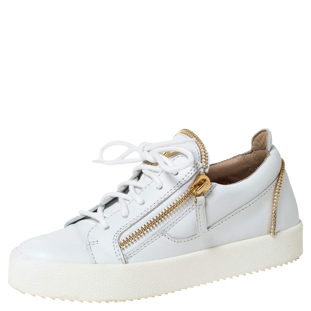 Giuseppe Zanotti White Leather May London Double Zip Low Top Platform Sneakers Size 36