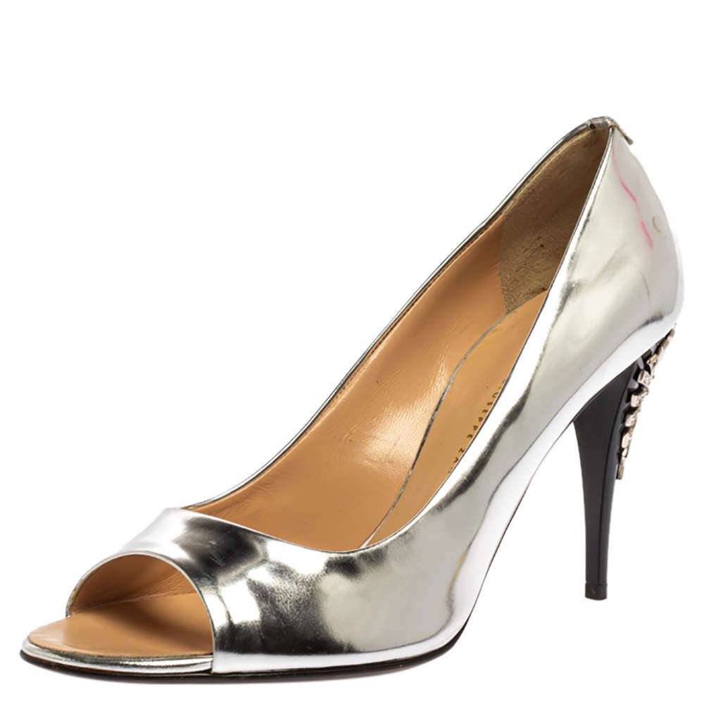 Giuseppe Zanotti Metallic Silver Leather Embellished Heel Open Toe Pumps Size 39