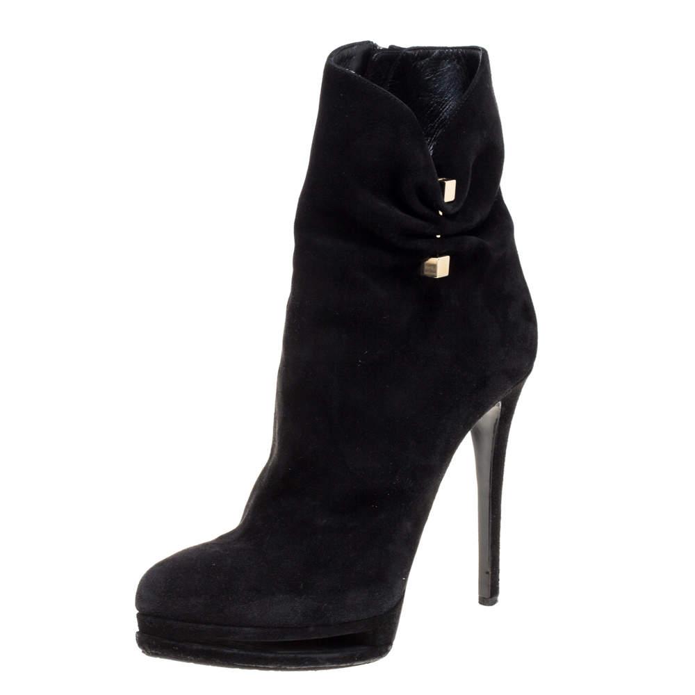 Le Silla Black Suede Hat Pin Platform Ankle Boots Size 38.5