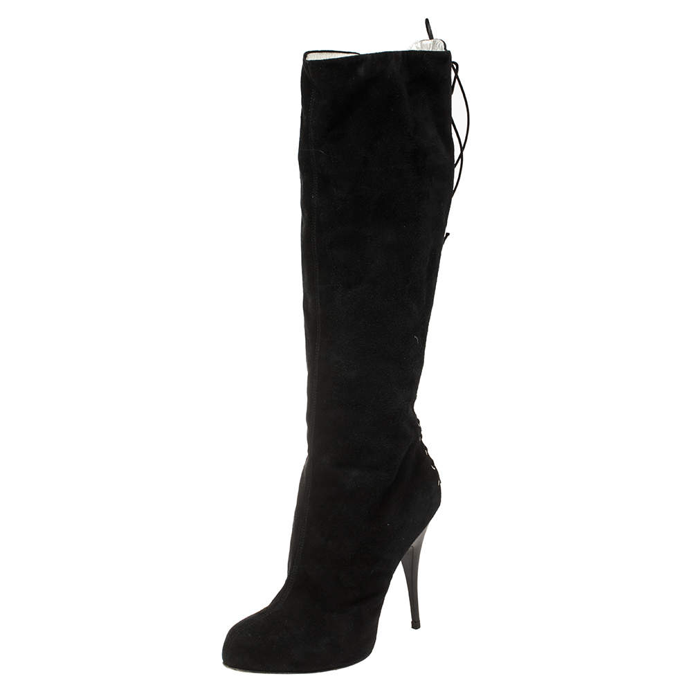 Giuseppe Zanotti Black Suede Lace-Up Knee Length Boots Size 39