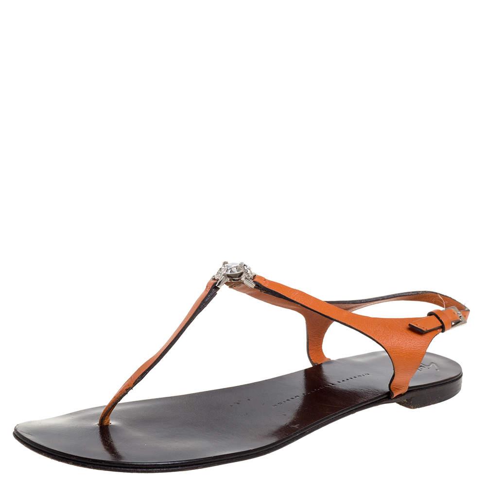 Giuseppe Zanotti Orange Leather Crystal Embellished Thong Flats Size 41