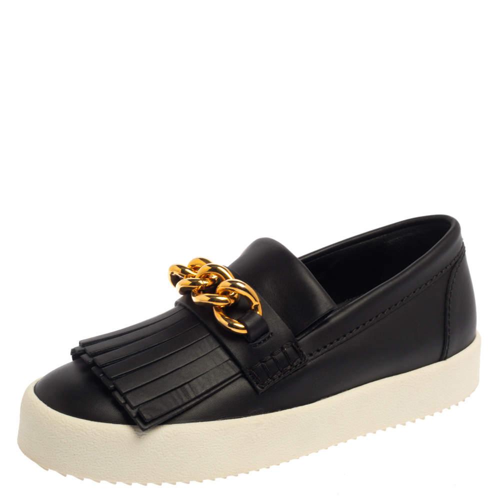 Giuseppe Zanotti Black Fringed Leather Slip On Sneakers Size 38