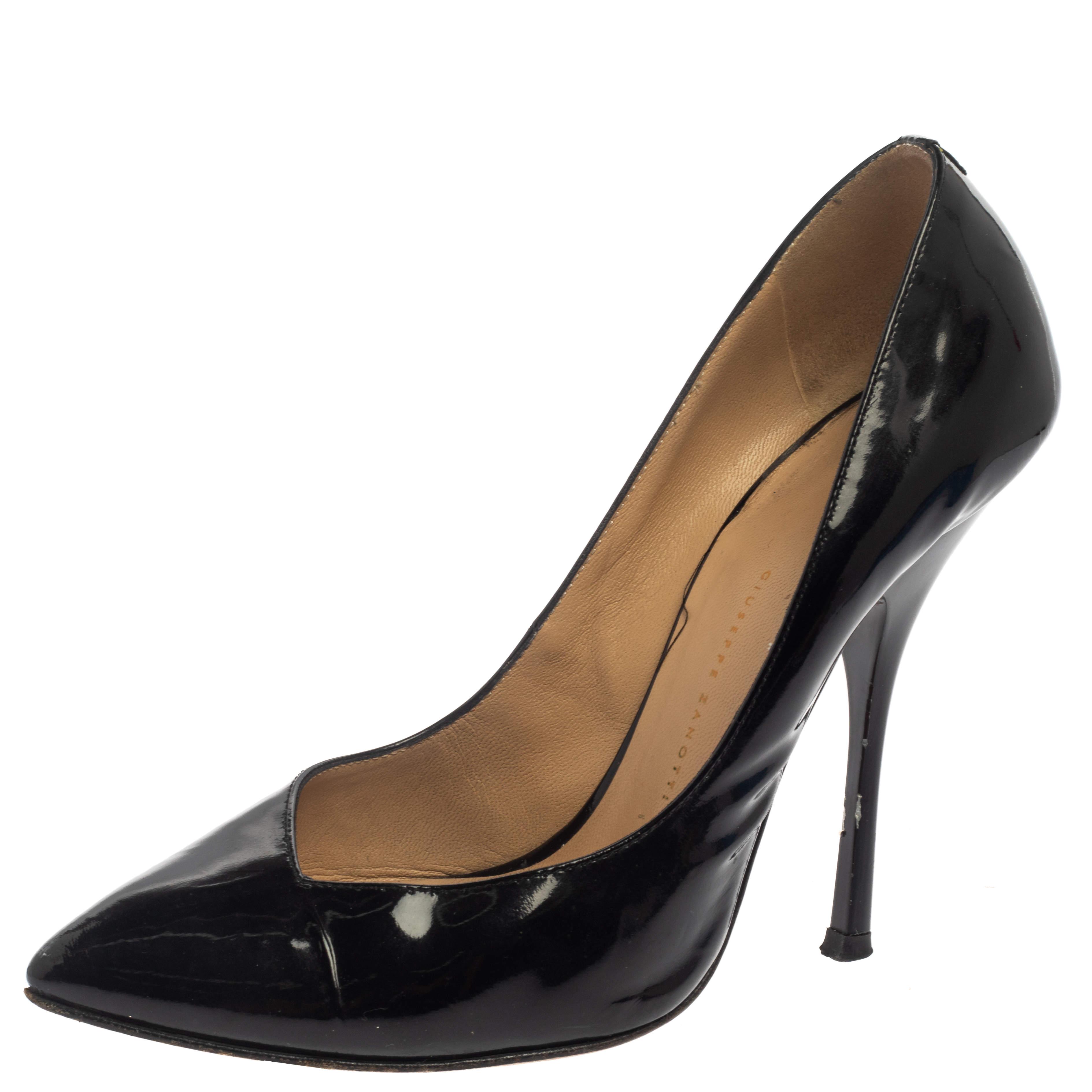 حذاء كعب عالى جوسيبى زانوتى مقدمة مدببة جلد لامع أسود مقاس 37.5