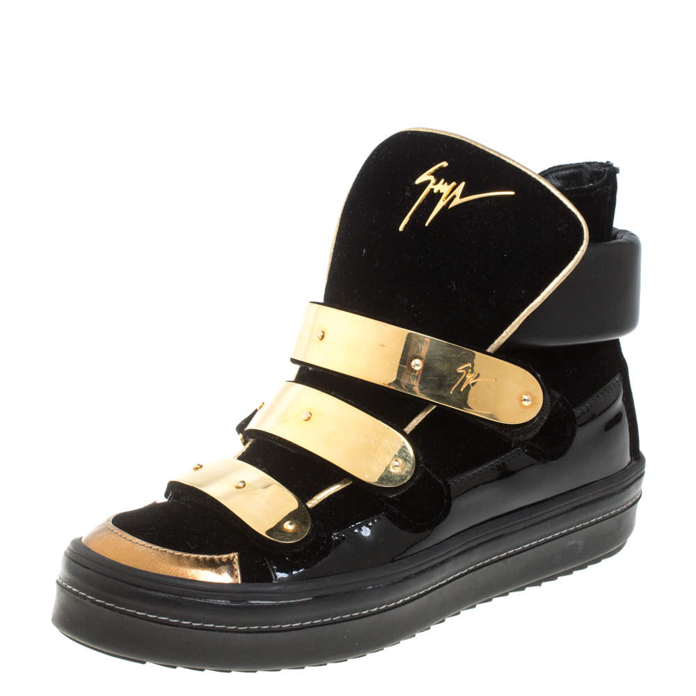 Giuseppe Zanotti Black Velvet And Patent Leather Gold Bar High Top Sneakers Size 37