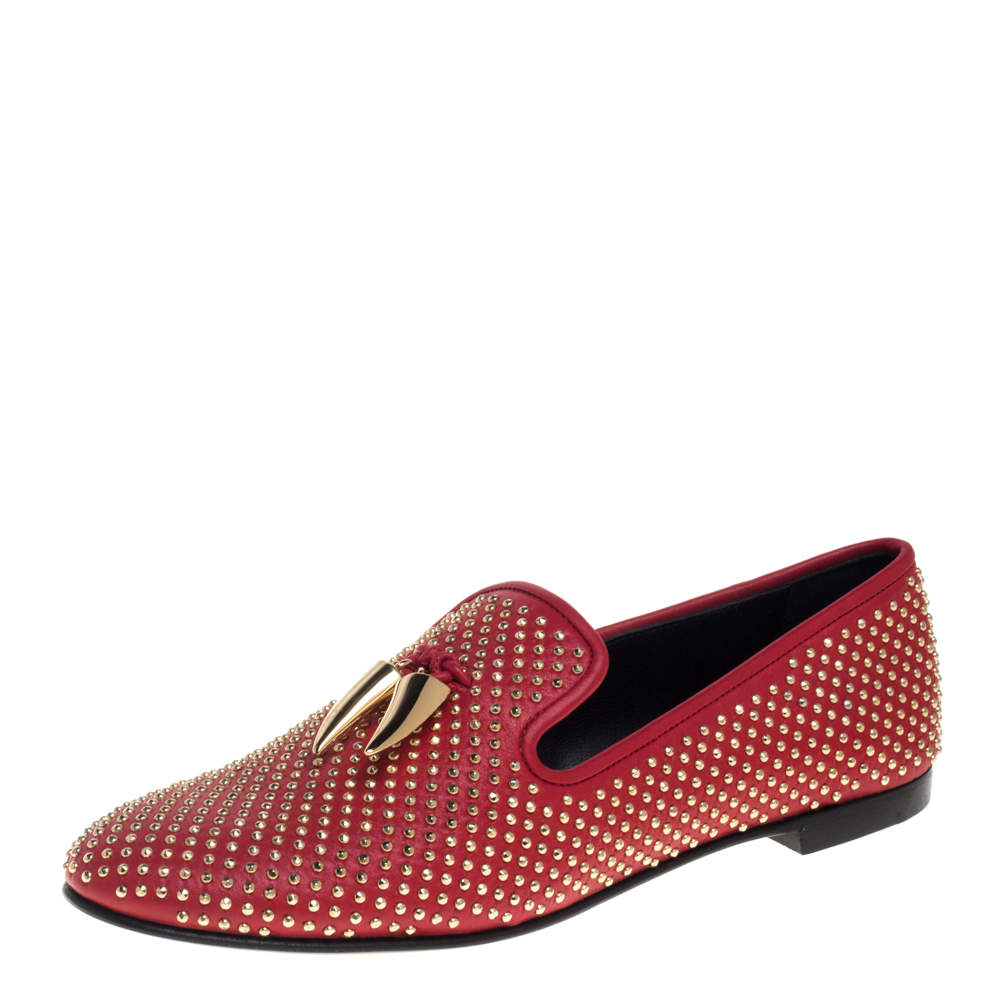 Giuseppe Zanotti Red Leather Studded Horn Detail Loafers Size 39