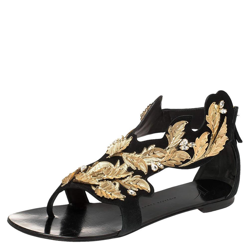 Giuseppe Zanotti Black/Gold Suede Metal Leaf Embellished Flat Sandals Size 39