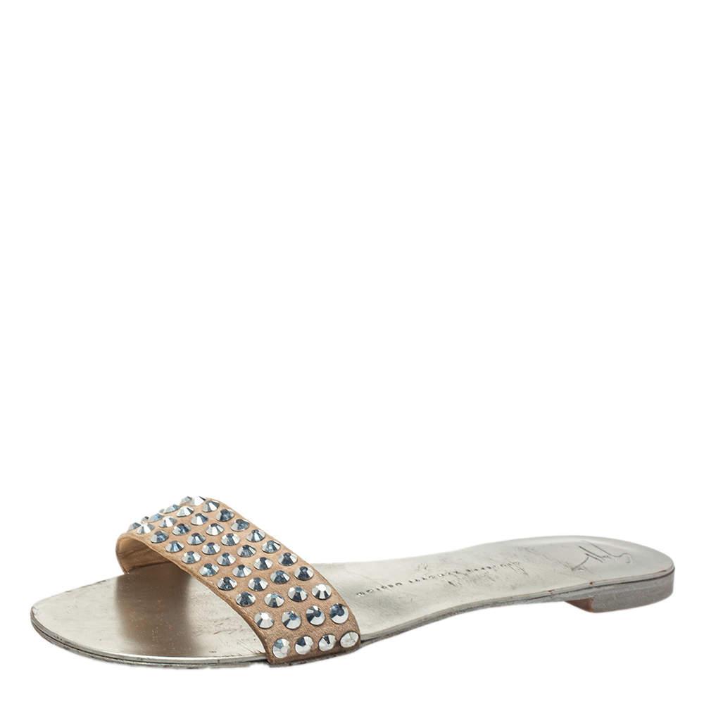 Giuseppe Zanotti Beige Suede Crystal Slide Sandals Size 38.5