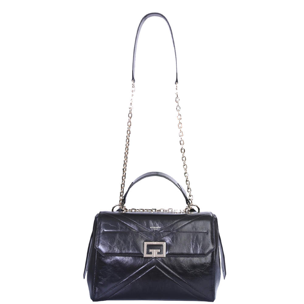 Givenchy Black Leather Crinkled ID Medium Bag