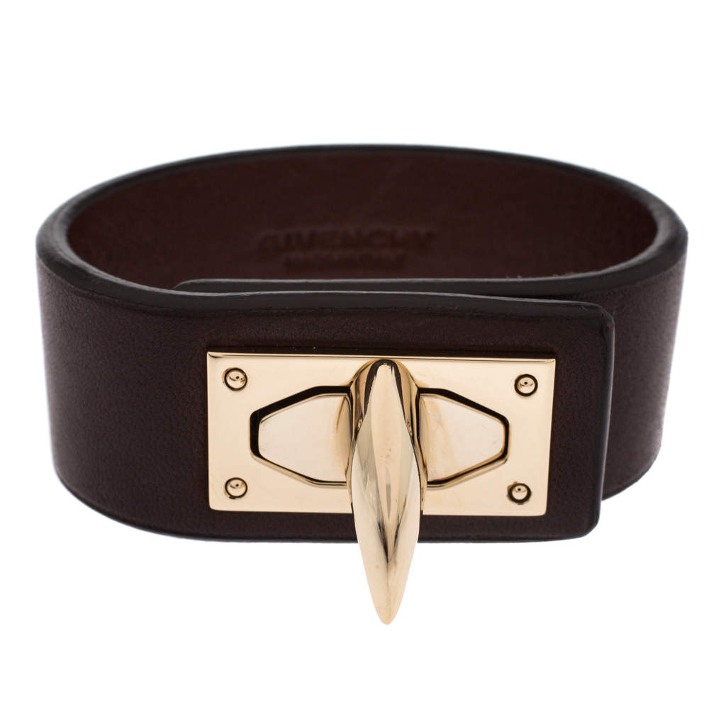 Givenchy Brown Leather Shark Tooth Lock Pale Gold Tone Bracelet