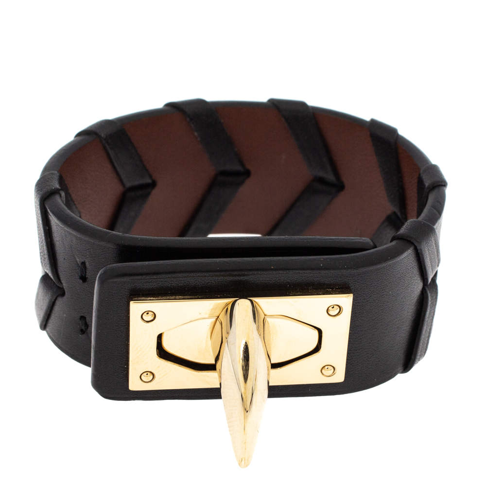 Givenchy Leather Shark Tooth Motif Gold Tone Bracelet