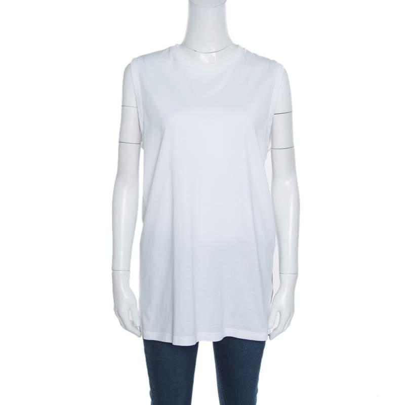 Givenchy White Cotton Braid Printed Detail Sleeveless T Shirt XS