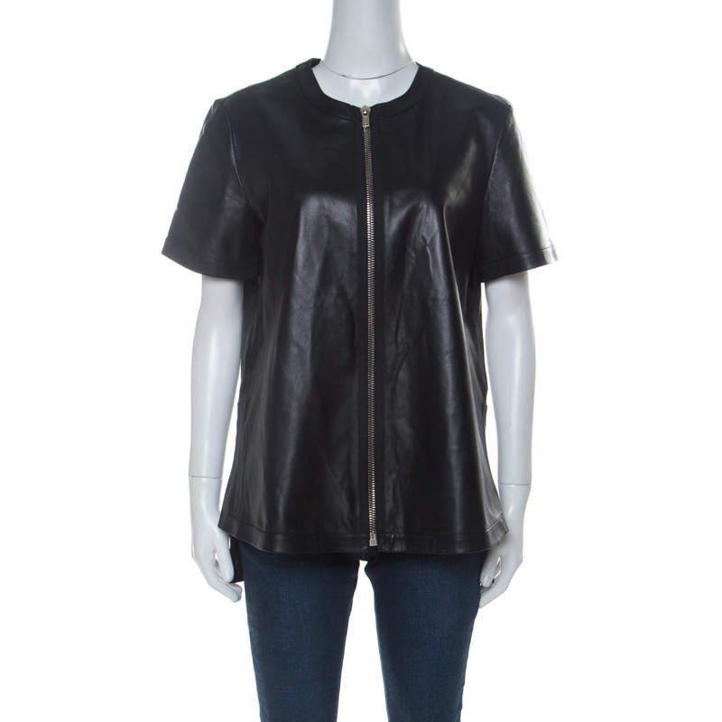 Givenchy Black Lambskin Zip Front Short Sleeve Top L