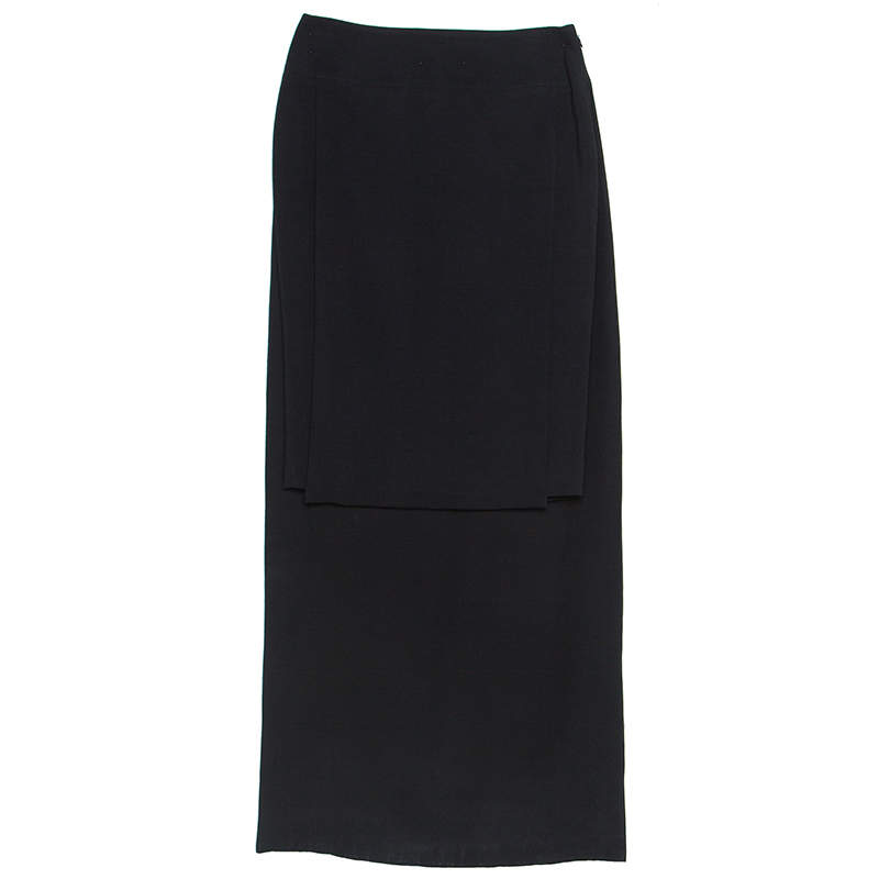Givenchy Black Crepe Asymmetric Pencil Skirt S