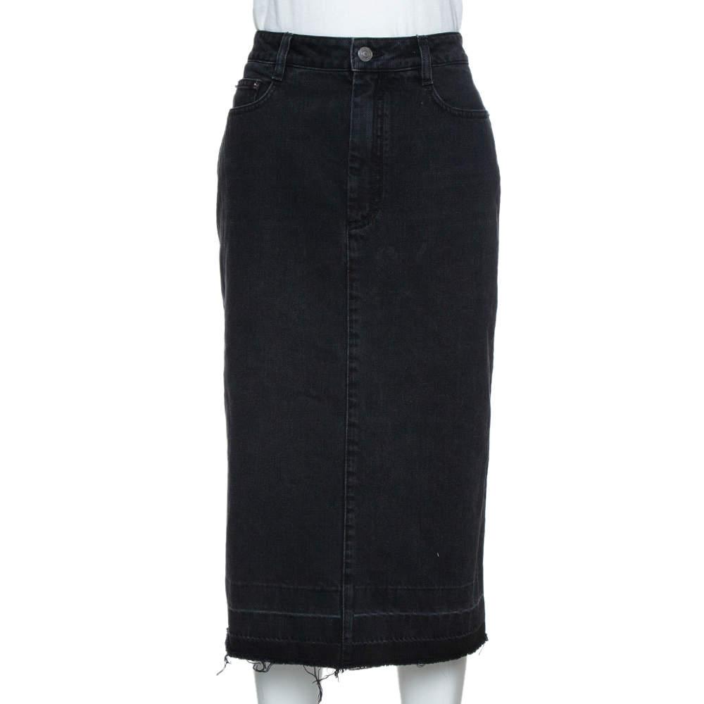 Givenchy Black Denim Distressed Hem Fitted Skirt L