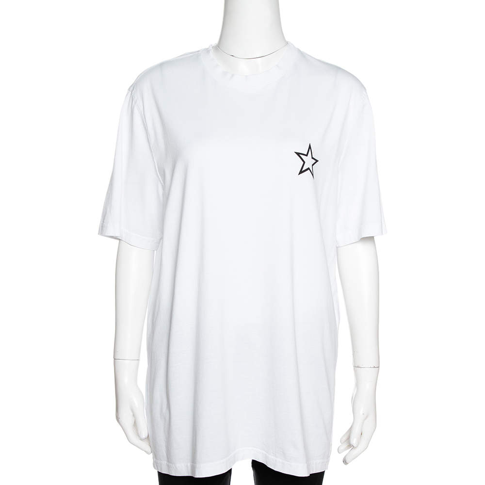 Givenchy White Cotton Star Print Crew Neck T Shirt M