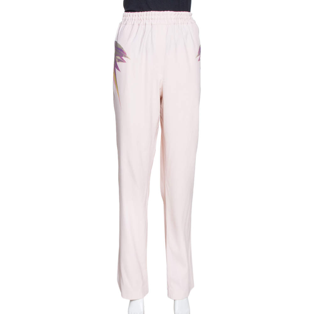 Givenchy Rose Pink Crepe Birds of Paradise Trousers L