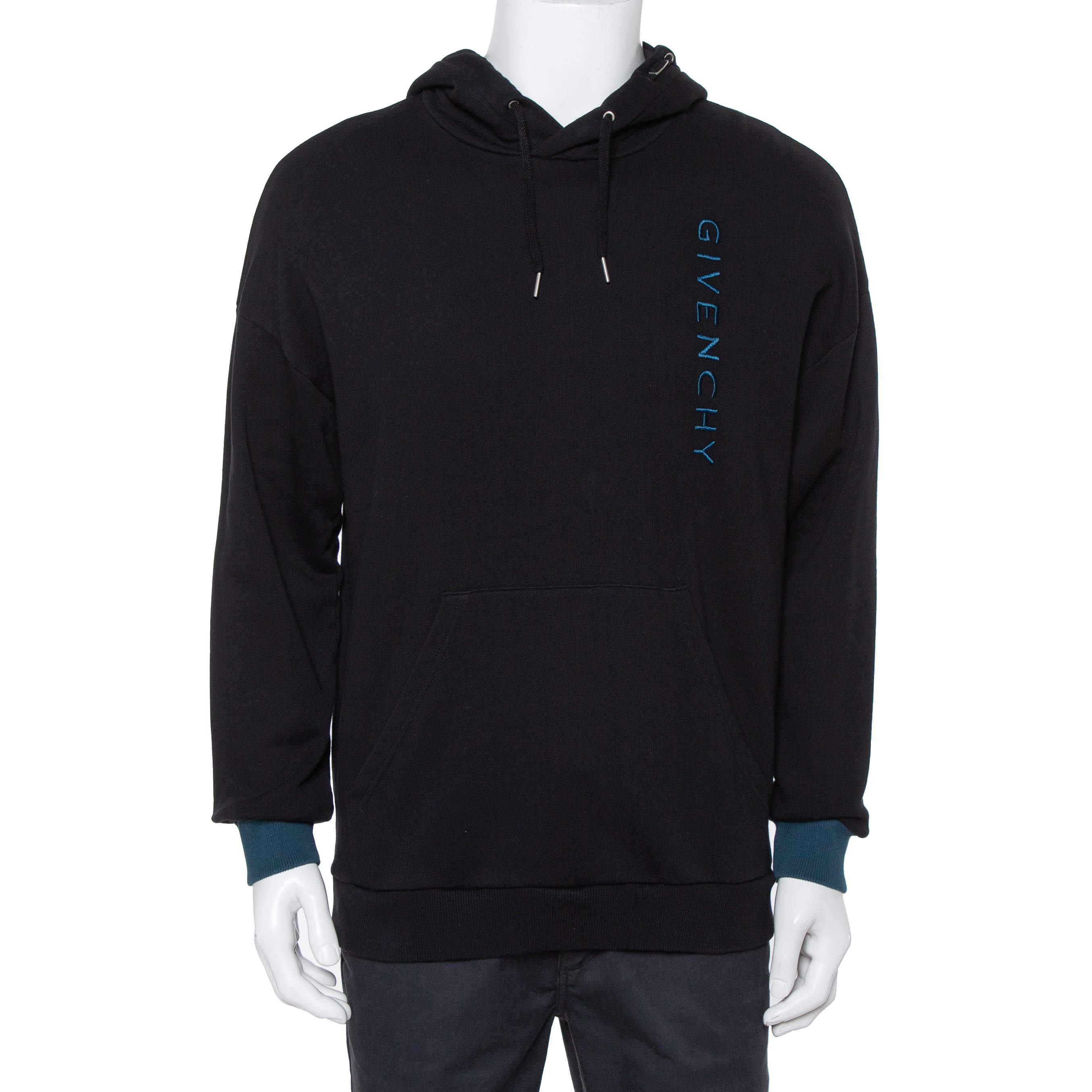 Givenchy Black Cotton Logo Embroidered Contrast Detail Hooded Sweatshirt S
