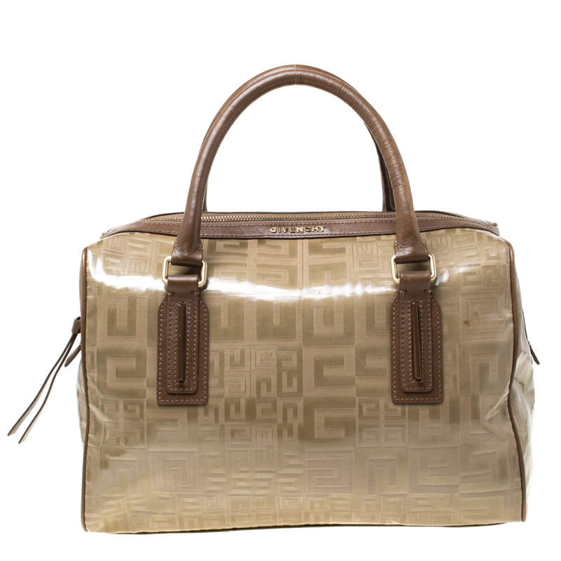Givenchy Brown Coated Canvas and Leather Satchel