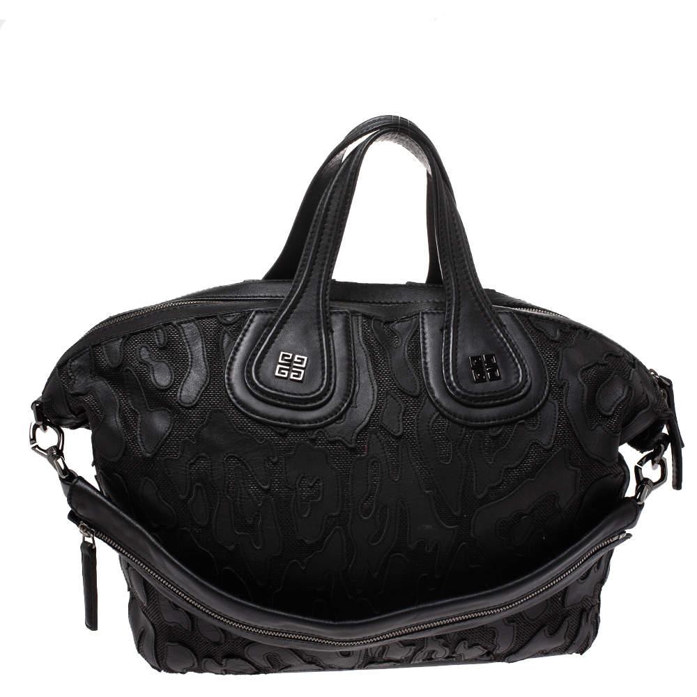 Givenchy Black Leather and Nylon Medium Nightingale Satchel
