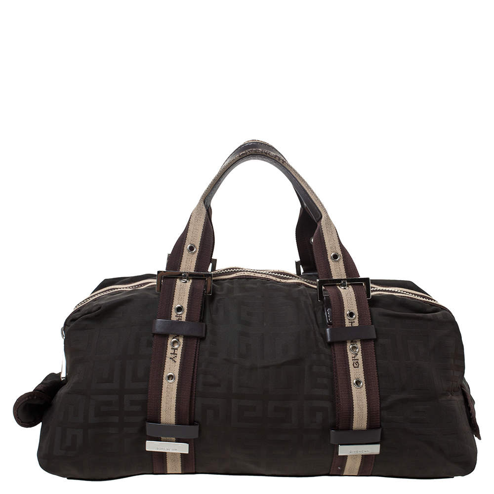Givenchy Dark Brown Monogram Nylon and Leather Satchel