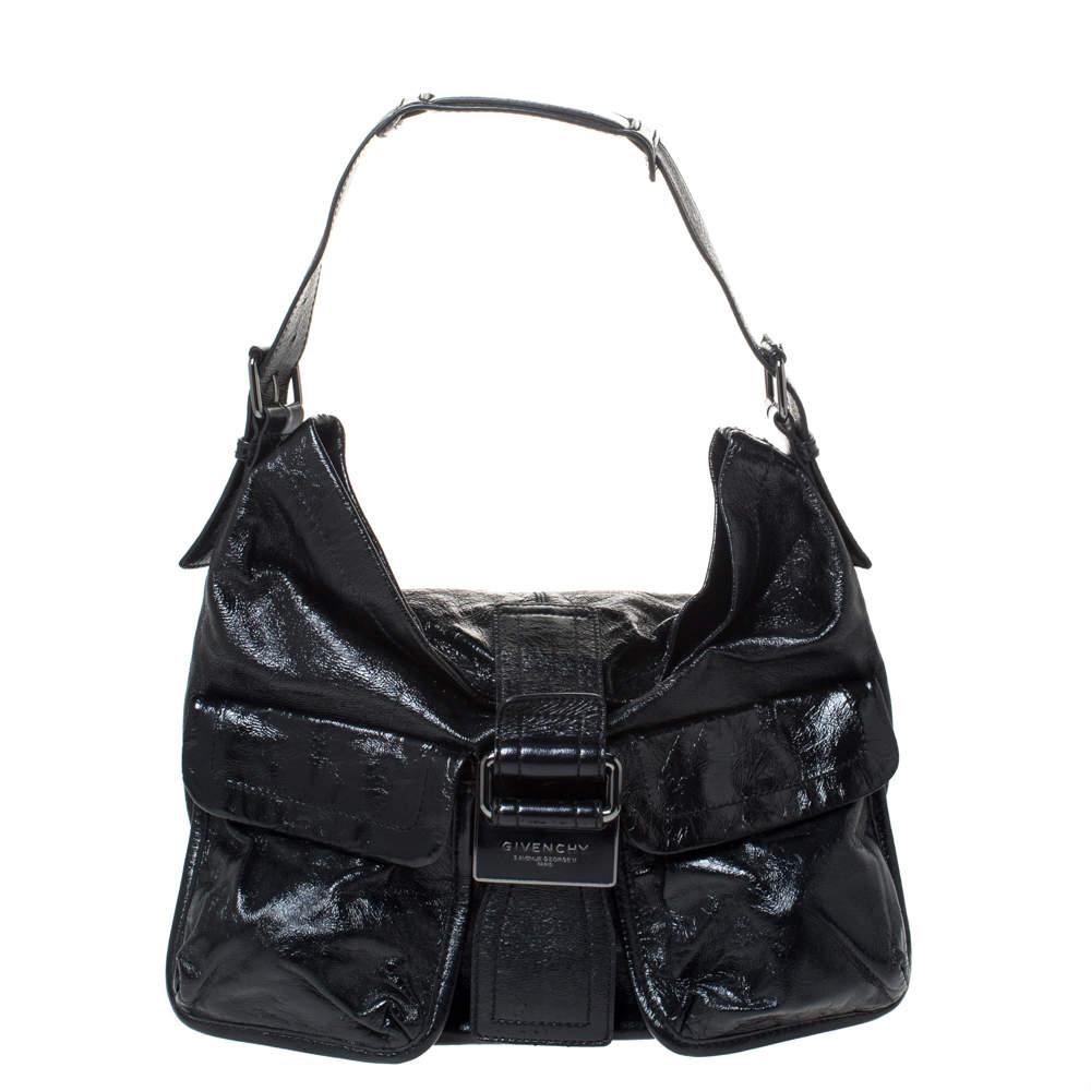 Givenchy Black Patent Leather Double Pocket Shoulder Bag
