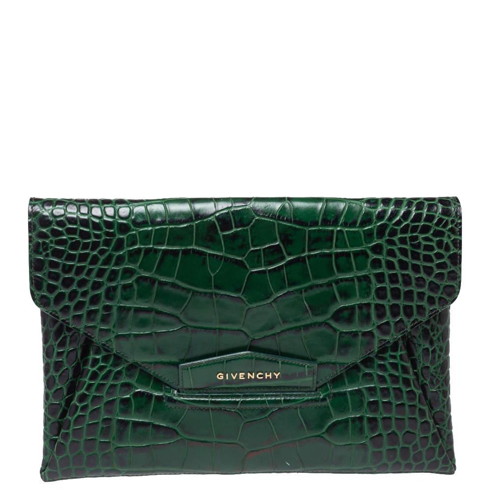 Givenchy Green Croc Embossed Leather Medium Antigona Envelope Clutch