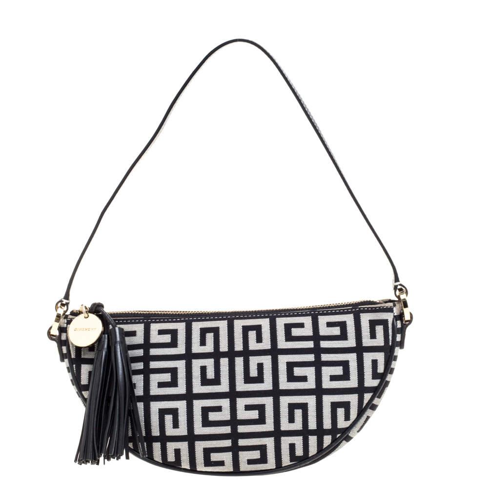 Givenchy Black Monogram Canvas and Leather Tassel Baguette Bag