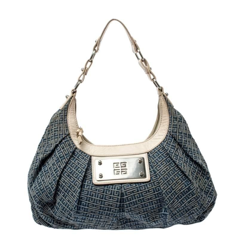Givenchy Blue/White Monogram Denim and Leather Shoulder Bag