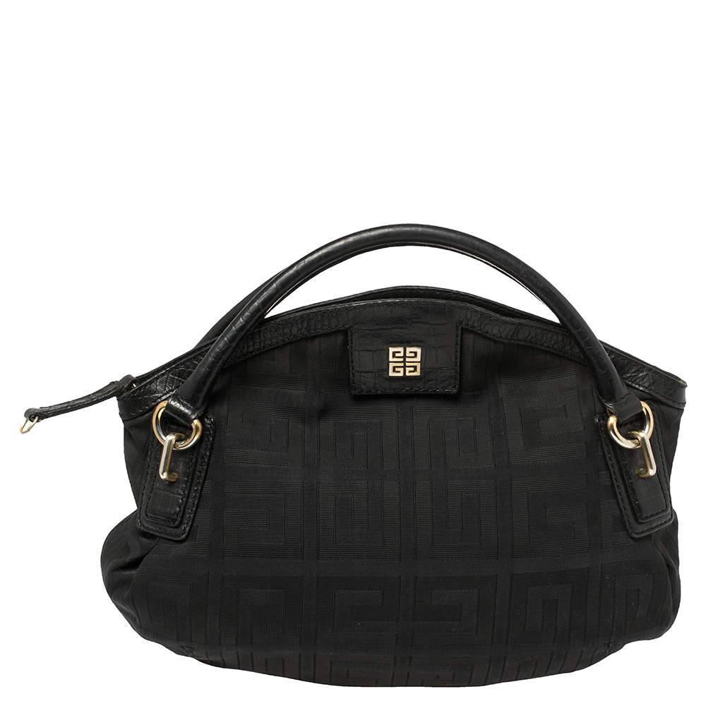 Givenchy Black Monogram Canvas and Croc Embossed Leather Hobo