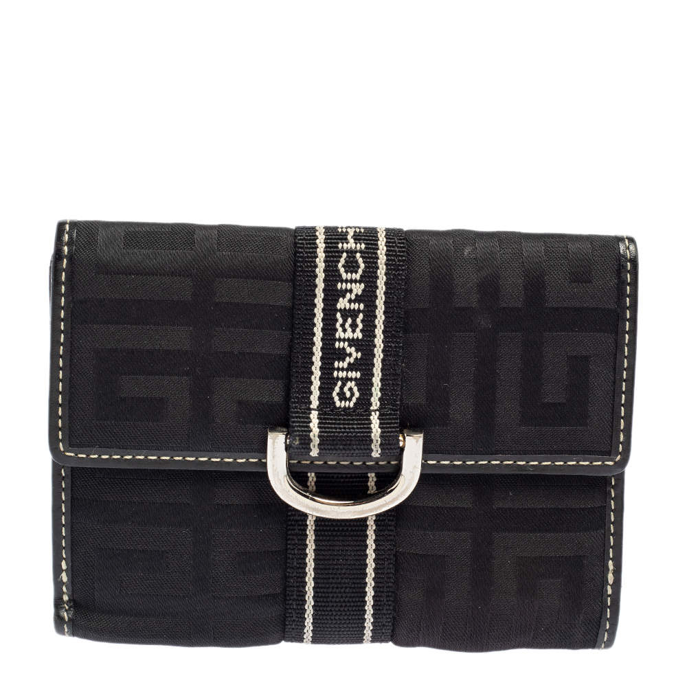 Givenchy Black Monogram Fabric and Leather French Wallet