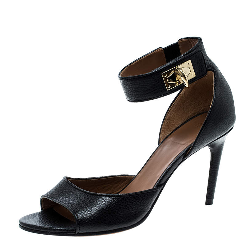 Givenchy Black Leather Sharktooth Ankle Wrap Sandals Size 37.5