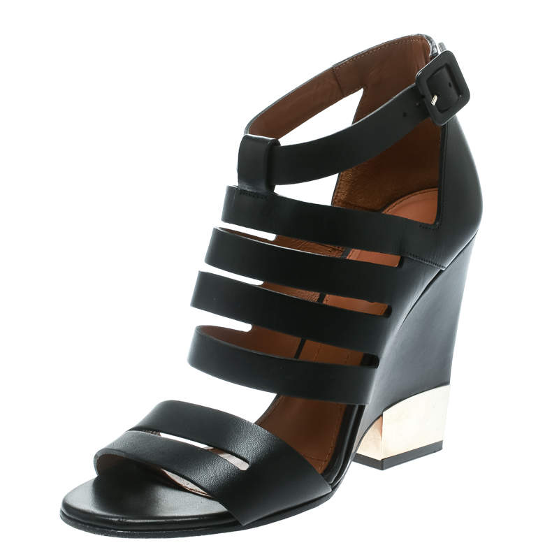 Givenchy Black Leather Wedge Sandals Size 35