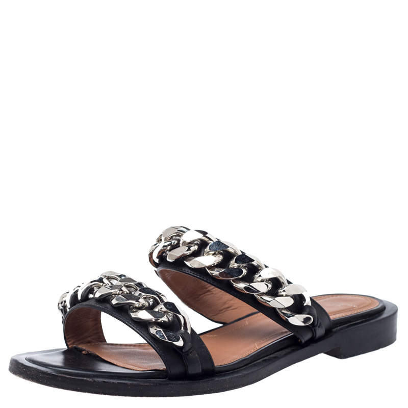 Givenchy Black Leather Chain Trimmed Flat Sandals Size 38