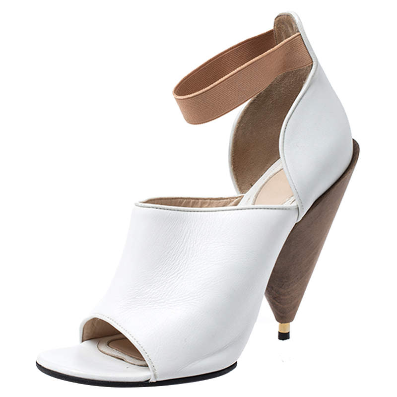 Givenchy White/Beige Leather Cone Heel Ankle Strap Sandals Size 38