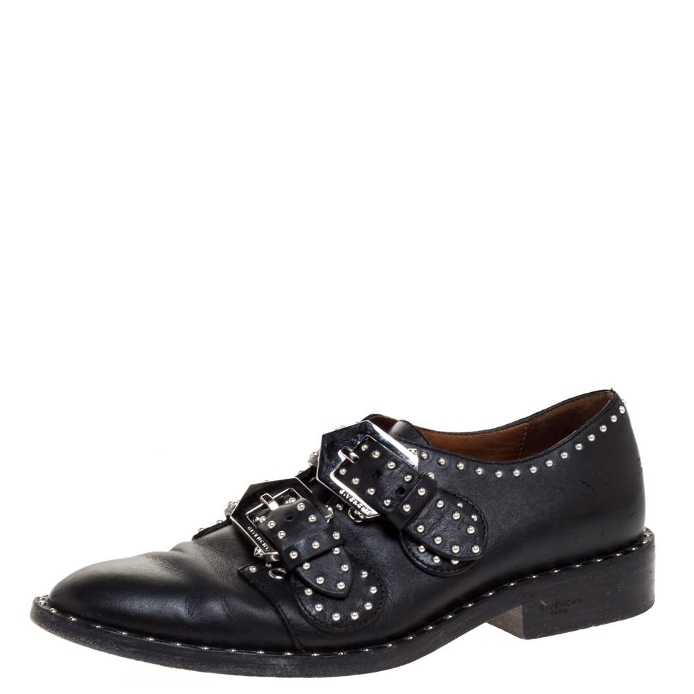 Givenchy Black Leather Studded Double Monk Flats Size 36
