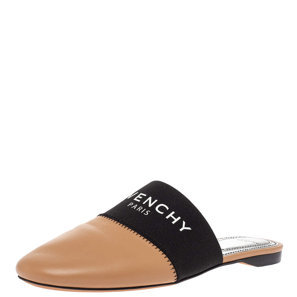 Givenchy Beige Leather And Elastic Bedford Logo Mules Flat Size 35