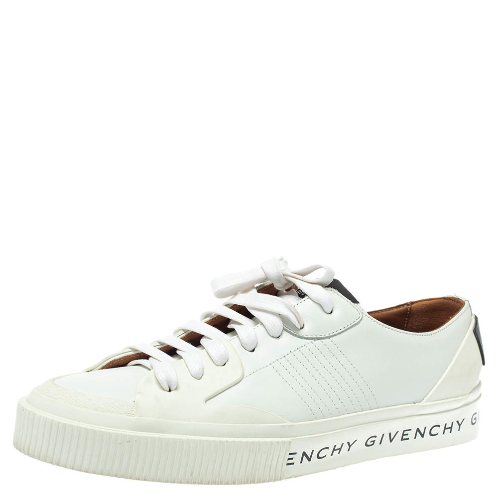 Givenchy White/Black Leather And Rubber Logo Print Low Top Sneakers Size 39.5