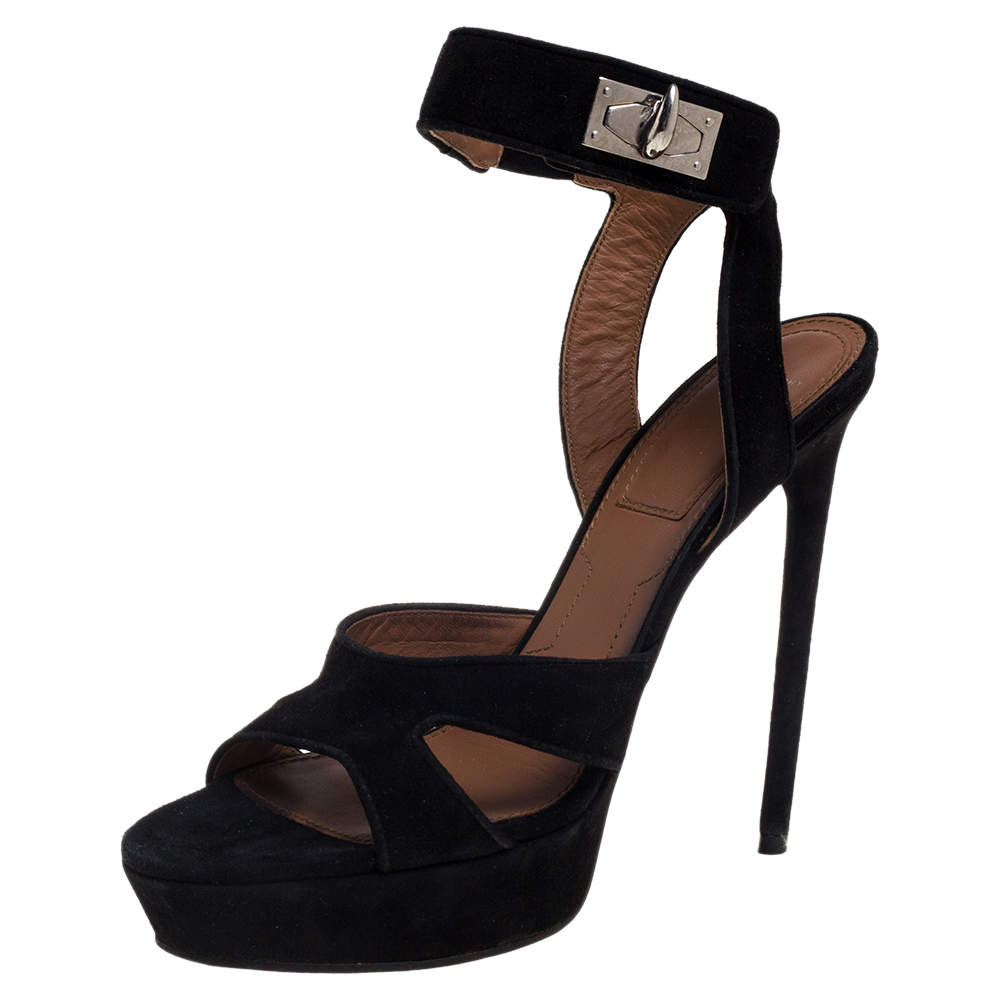 Givenchy Black Suede Shark Lock Sandals Size 39