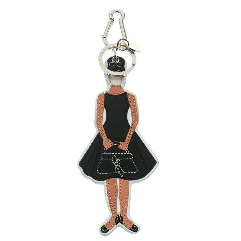 Givenchy Girl Shape Leather Charm Silver Tone Key Ring / Bag Charm