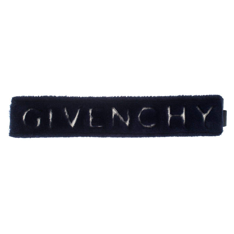 Givenchy Blue Faux Fur and Leather Bag Strap