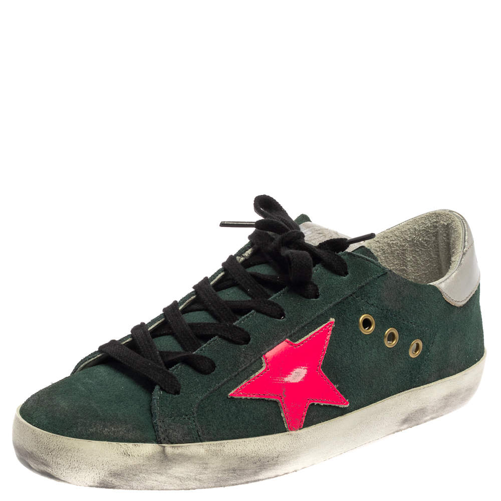 Golden Goose Green/Pink Suede Low-Top Superstar Sneaker Size 38