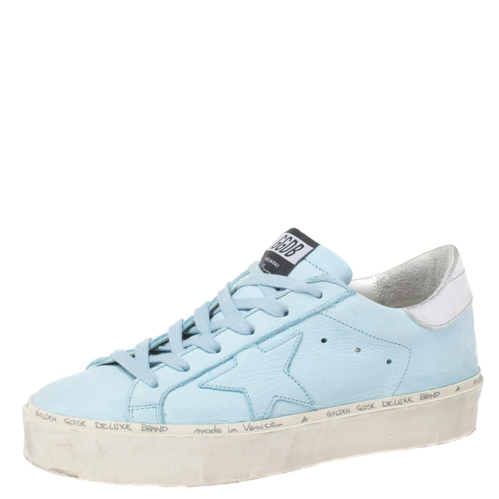 Golden Goose Light Blue/Silver Leather Hi Star Sneakers Size 38