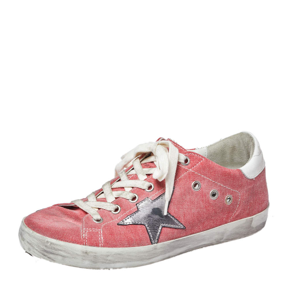 Golden Goose Pink Denim And Metallic Silver Star Applique Low Top Sneakers Size 38