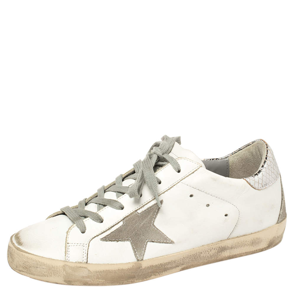 Golden Goose White Leather Superstar Low Top Sneakers Size 38