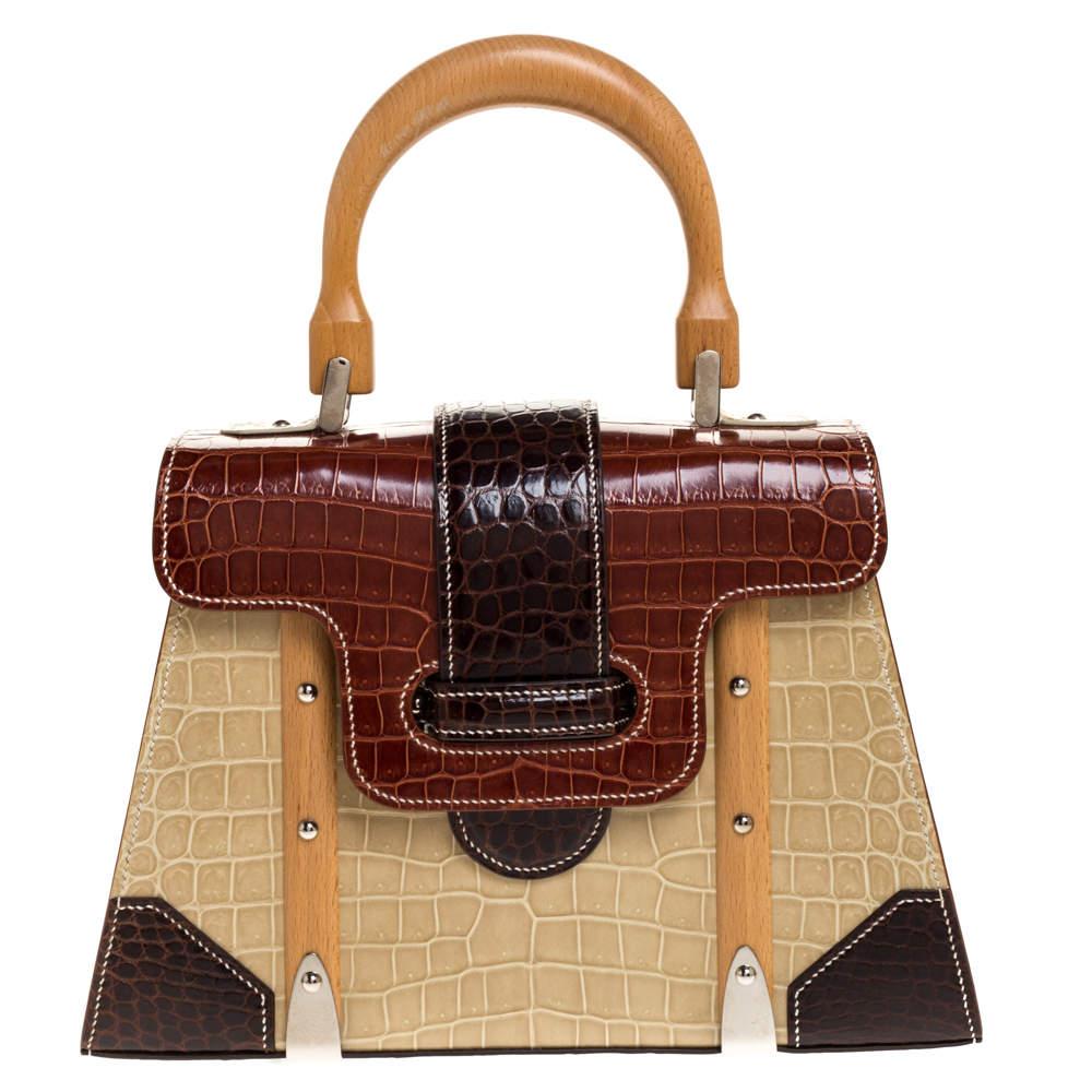 Goyard Tri Color Crocodile Saigon PM Top Handle Bag