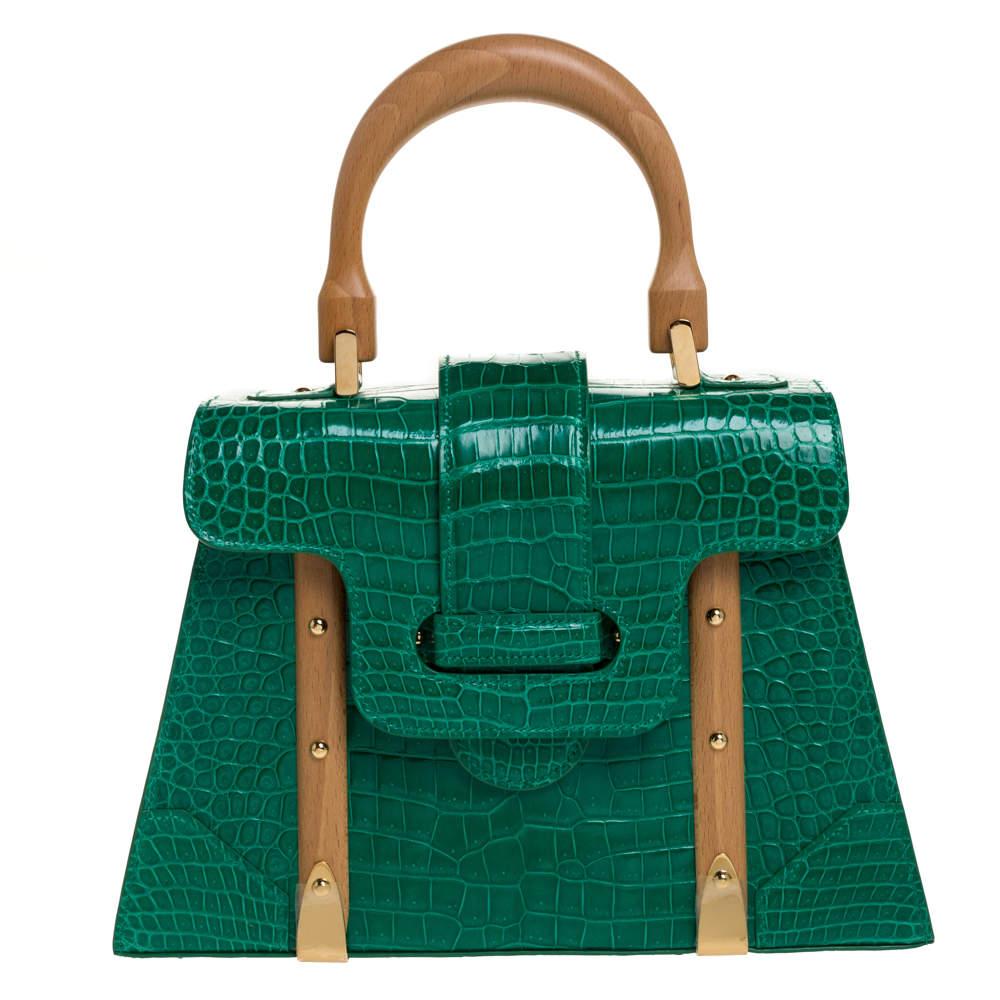 """حقيبة غويارد """"سايغون پي إم"""" يد علوية جلد تمساح أخضر"""