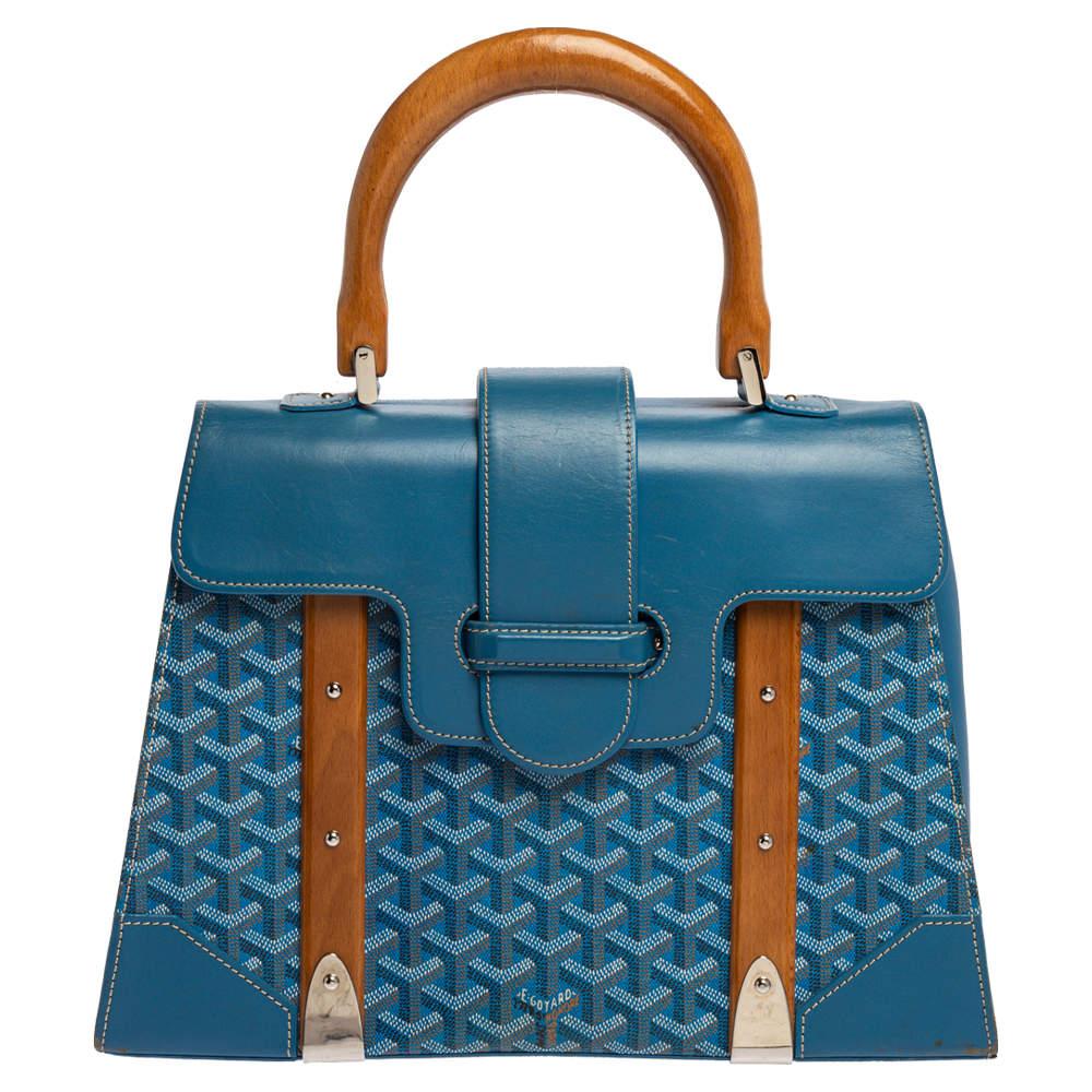 Goyard Blue Goyardine Coated Canvas and Leather Saigon Top Handle Bag