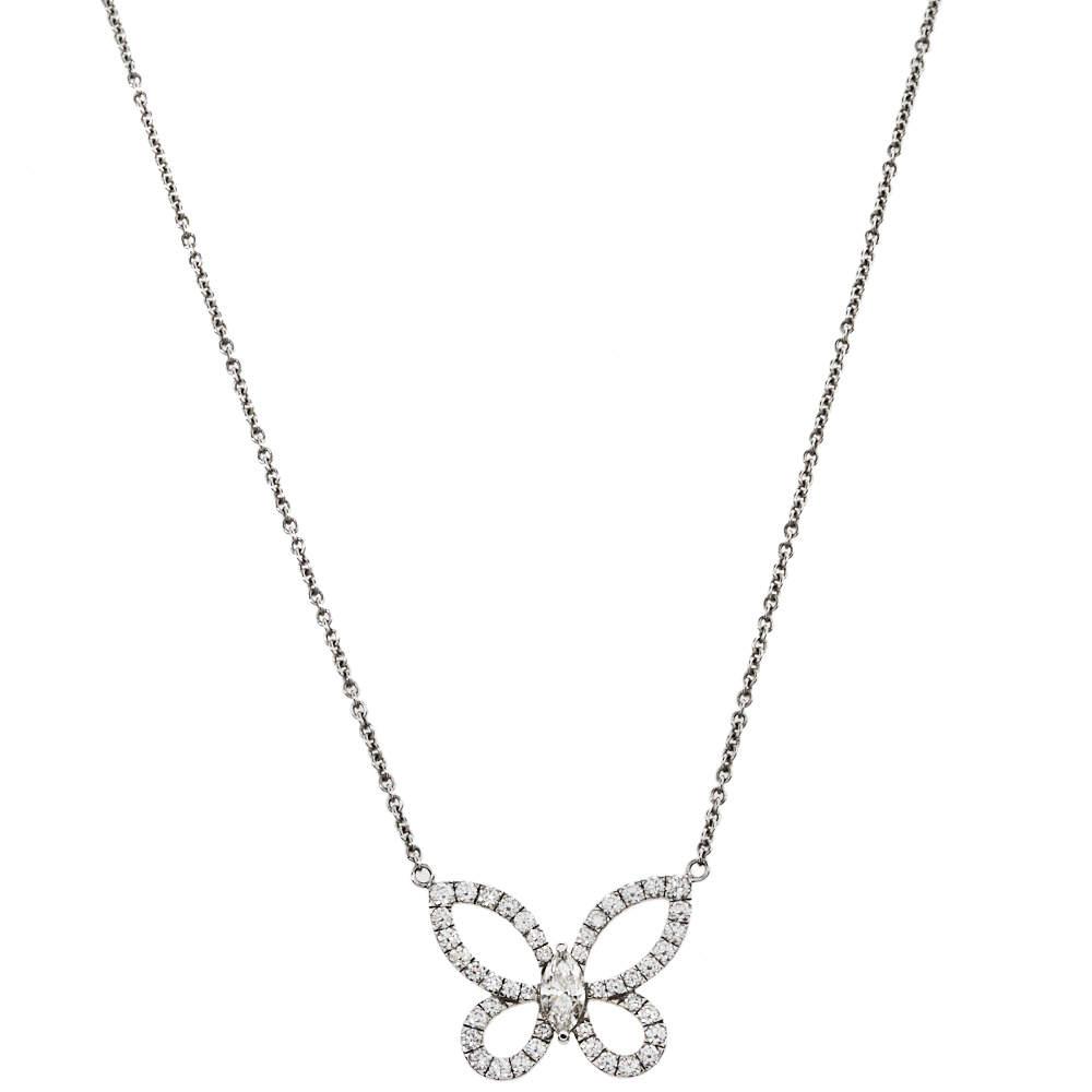 Graff Butterfly Silhouette Diamond 18K White Gold Pendant Necklace